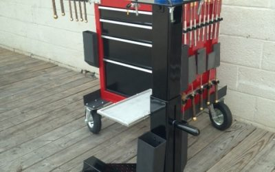 The Buck Torch Stand and the Buck Tool Cart- A Benchless Flamworking System designed by Buck and produced by Griffin Glass Tools